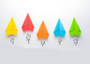 5 Paper Airplanes in yellow, red, orange, blue and green
