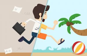 Split screen cartoon of business man with briefcase running out of the office and onto the beach